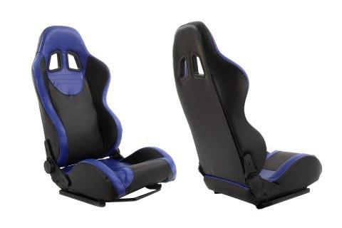 Fotel sportowy MONZA+ Skóra Blue - GRUBYGARAGE - Sklep Tuningowy
